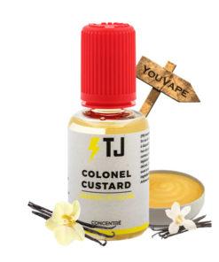 L'arôme concentré Colonel Custard de T-Juice, créateur du fameux Red Astaire, propose une délicieuse crème anglaise, une custard légère relevée de vanille pour un All-day gourmand. Cet arôme, fabriqué au Royaume Uni, est proposé en flacon de 30ml. C'est une recette toute prête, à diluer dans une base afin de réaliser votre propre e-liquide. Le fabricant préconise un dosage de 15% et un temps de maturation de 7 à 10 jours.